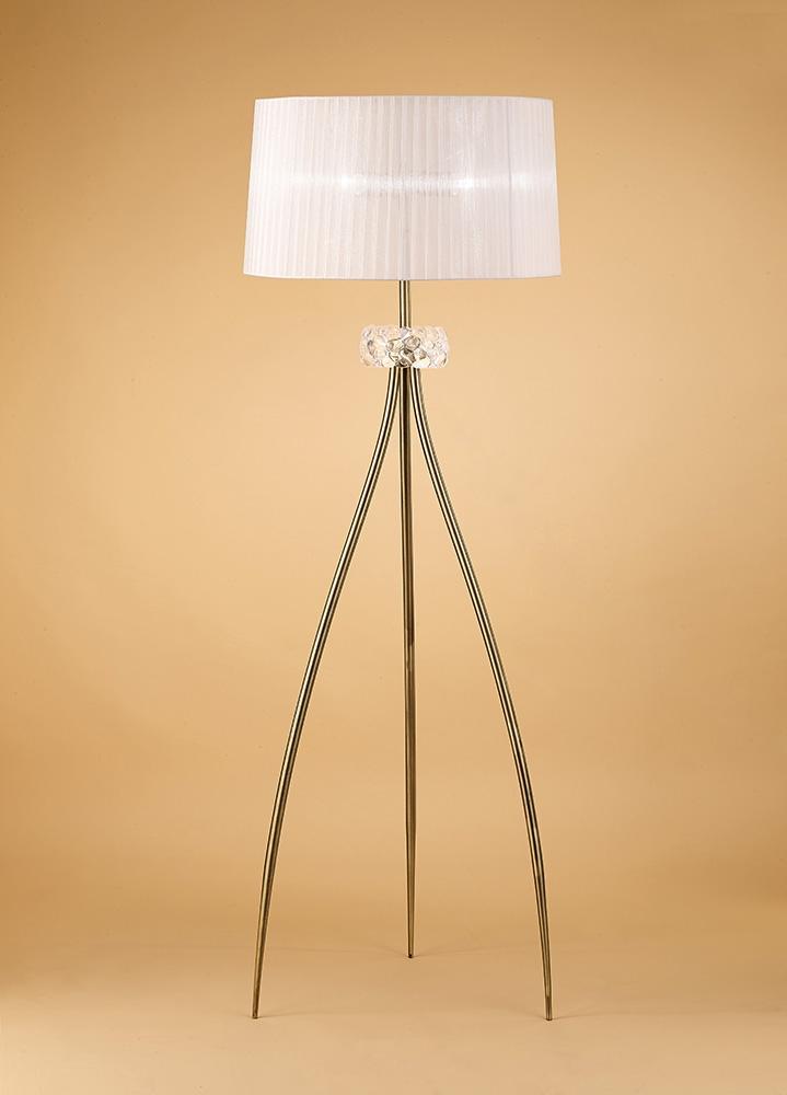 Mantra m4638ab loewe floor lamp 3 light e27 antique brass for Mantra 5 light floor lamp