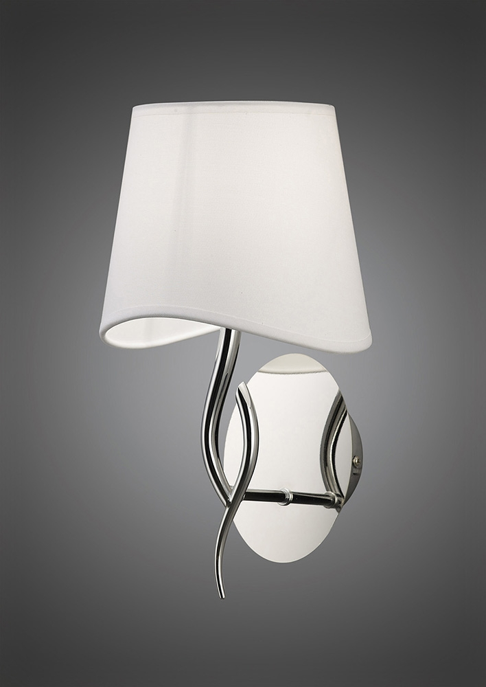 White Wall Lamp Shades : Mantra M1904 Ninette Wall Lamp 1 Light E14, Polished Chrome With Ivory White Shade - Astral ...
