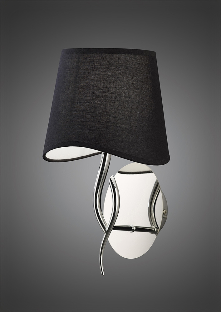 Mantra M1904/S/BS Ninette Wall Lamp Switched 1 Light E14, Polished Chrome With Black Shade ...