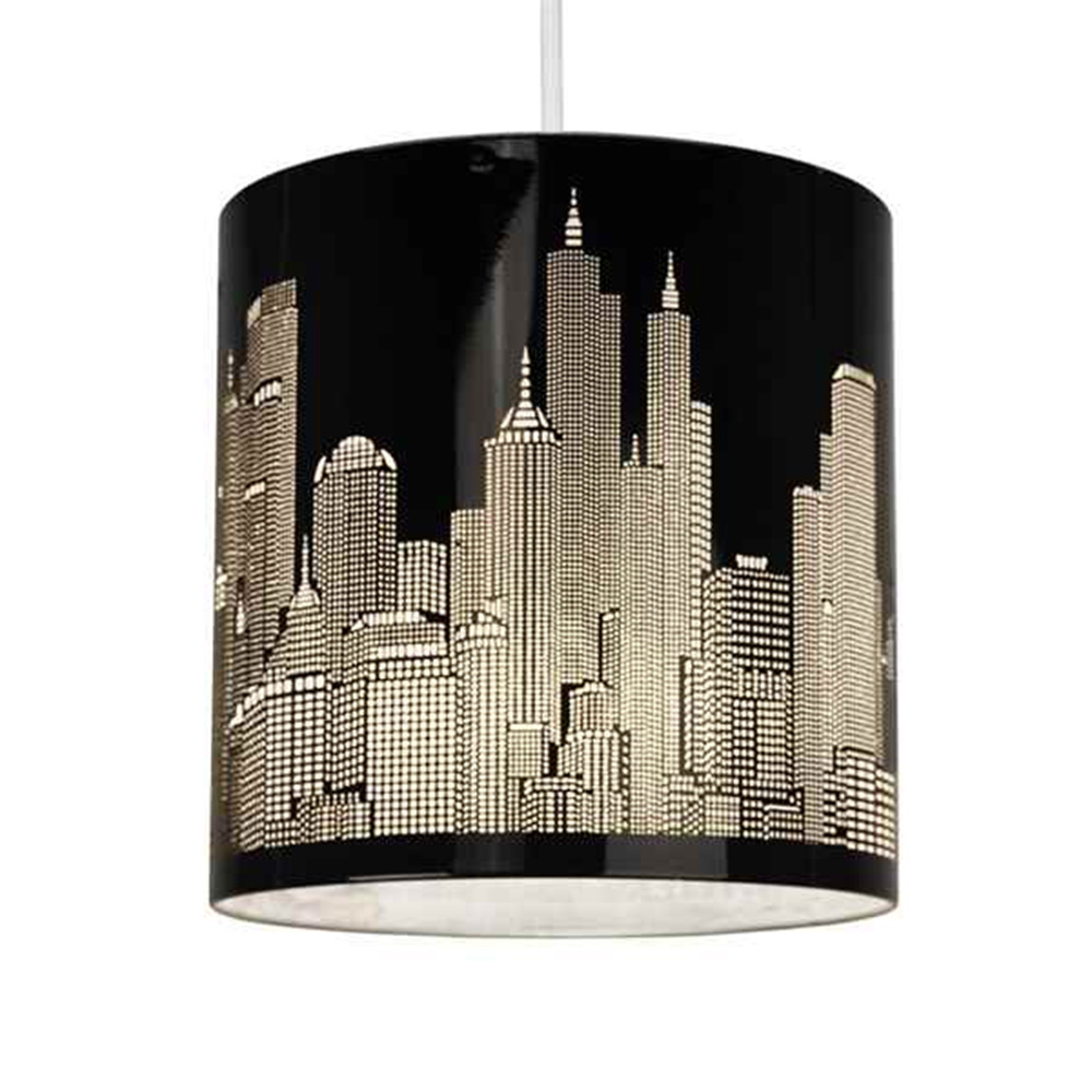 Skyline Cut Out Ne Pendant Shade Gloss Black Astral