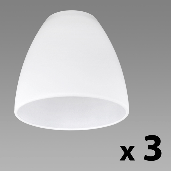 Set of 3 White Glass Shades Dome Shaped Astral