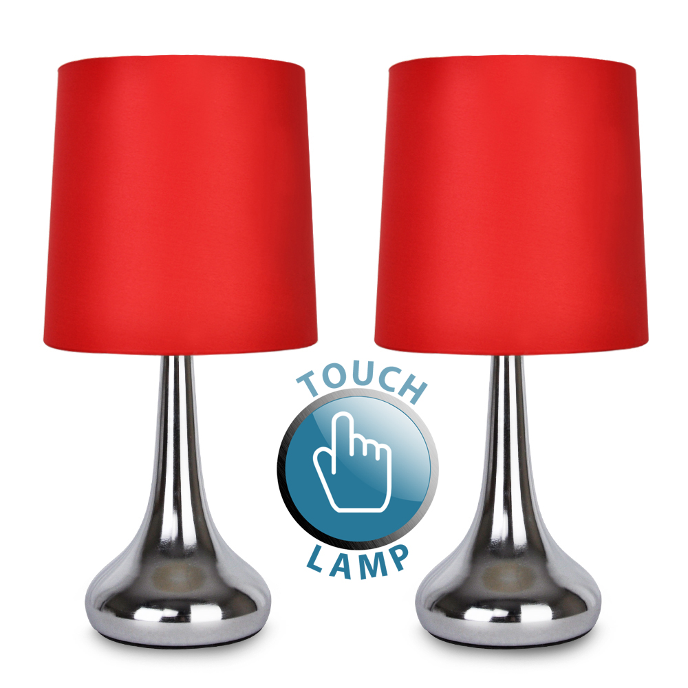 Pair Of Teardrop Touch Table Lamp Chrome Red Shade