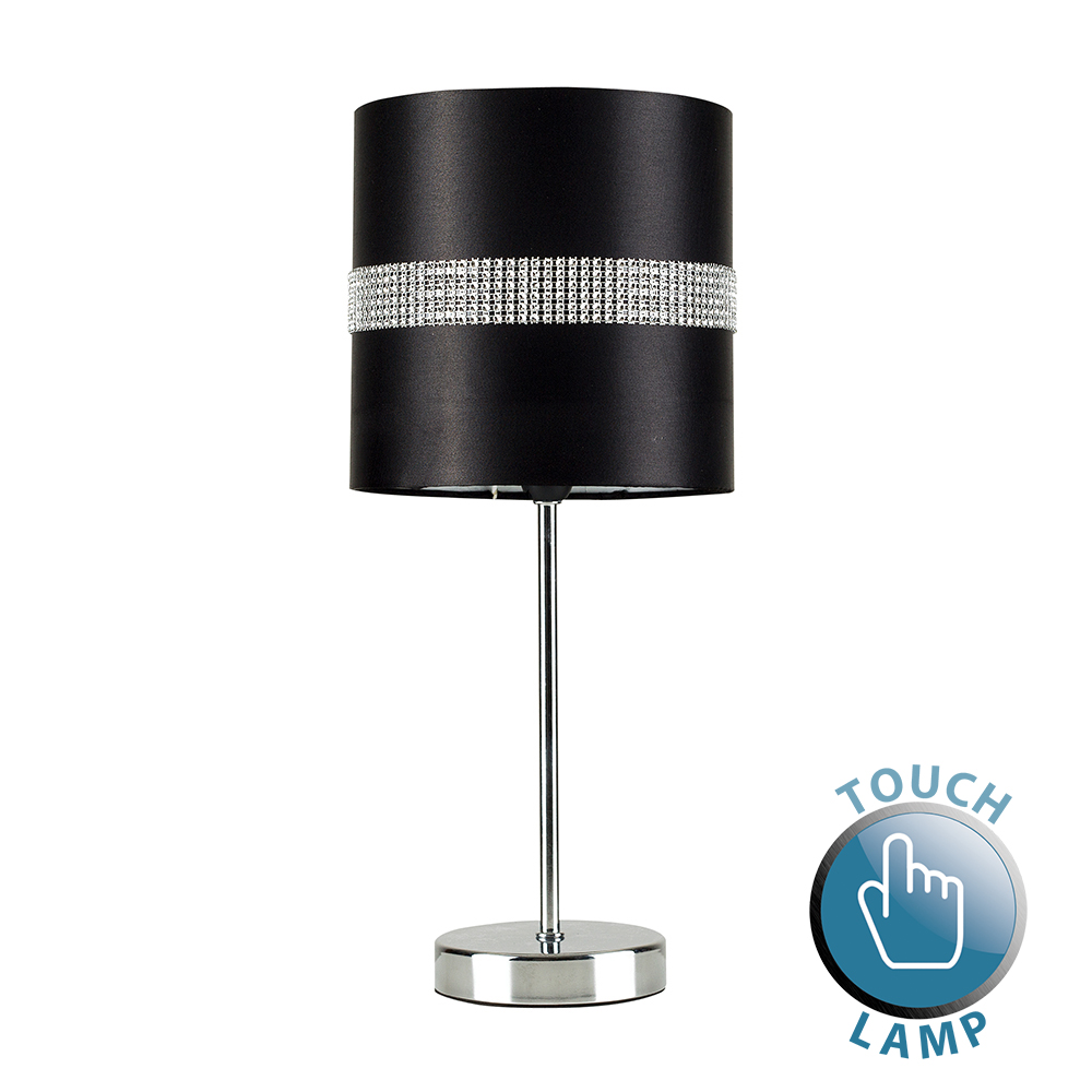 Chrome Touch Table Lamp With Black Diamante Shade Astral