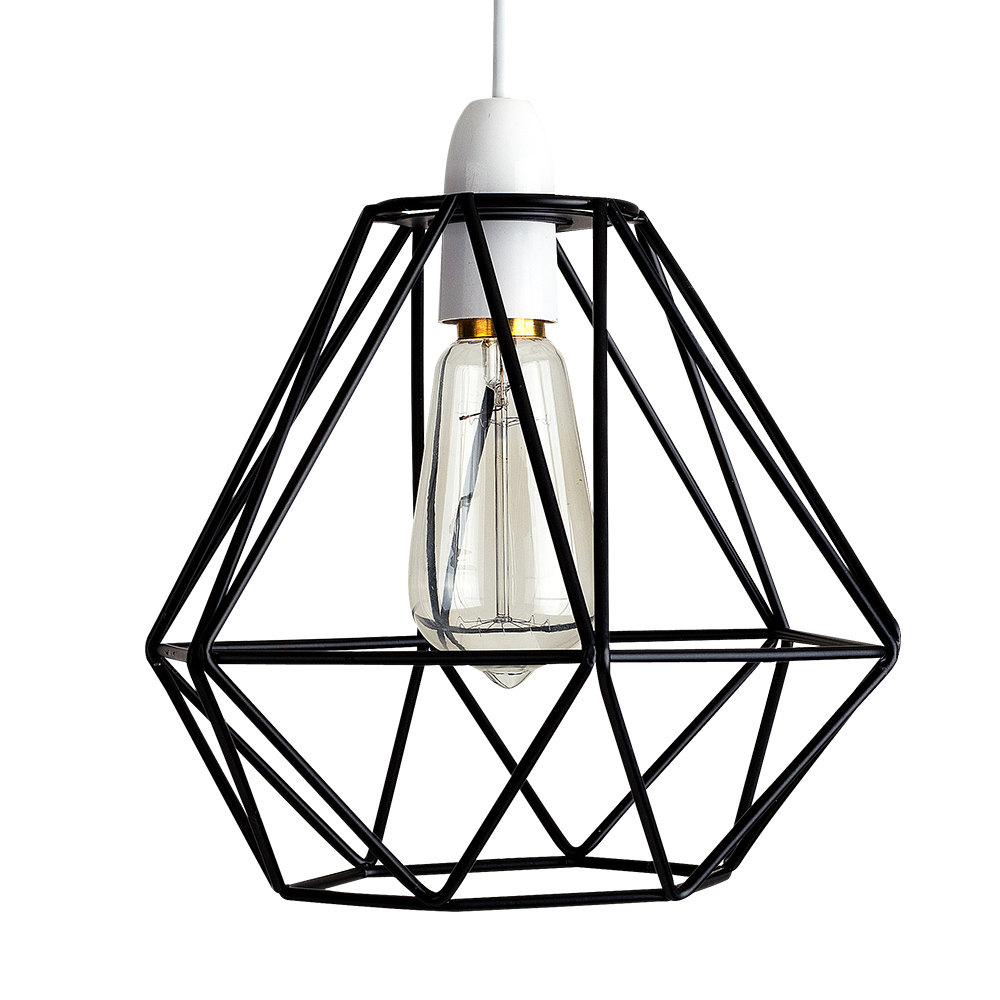 Angus Industrial Wall Light: Diablo Black Wire Frame Non Electric Pendant Shade