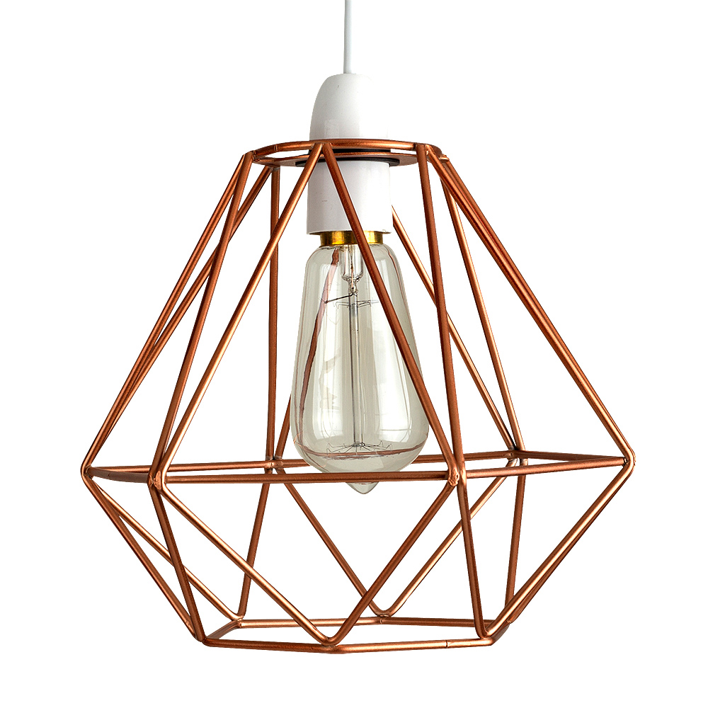 Angus Industrial Wall Light: Diablo Copper Wire Frame Non Electric Pendant Shade