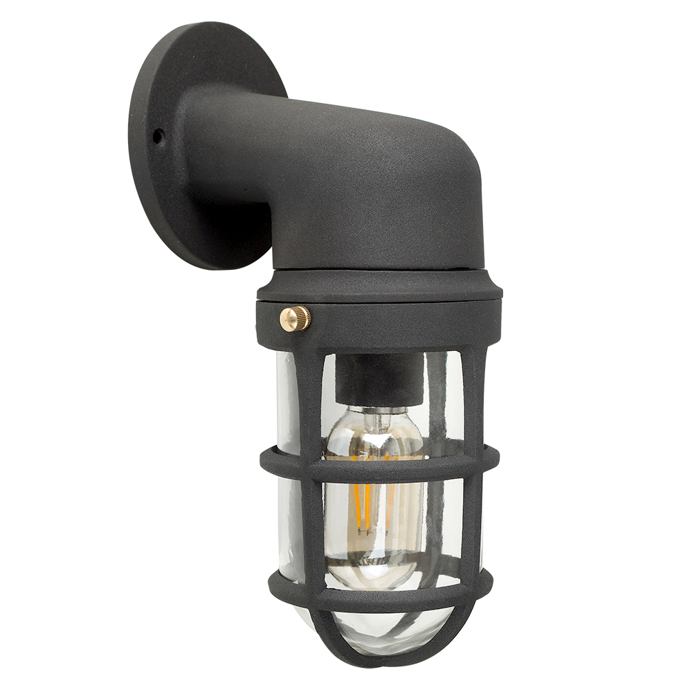 Quay IP44 Single Matt Black Nautical Outdoor Wall Light